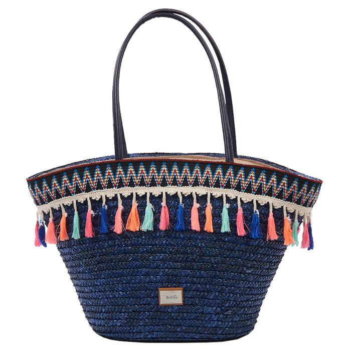 4e68ca6911 Τσάντα θαλάσσης ψάθινη Verde 16-4704-Μπλε - Γυναικειες τσαντες ...