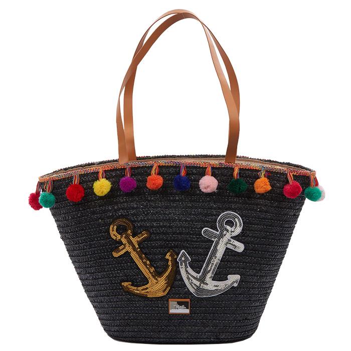 160eb73620 Τσάντα θαλάσσης ψάθινη Verde 16-4705-Μαυρο - Γυναικειες τσαντες ...
