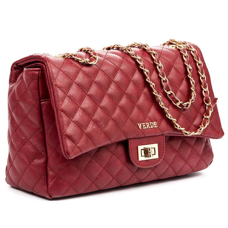 Τσάντα Ωμου καπιτονέ Verde 16-4866-Κοκκινο Σκουρο - Γυναικειες τσαντες  edfb2842a61