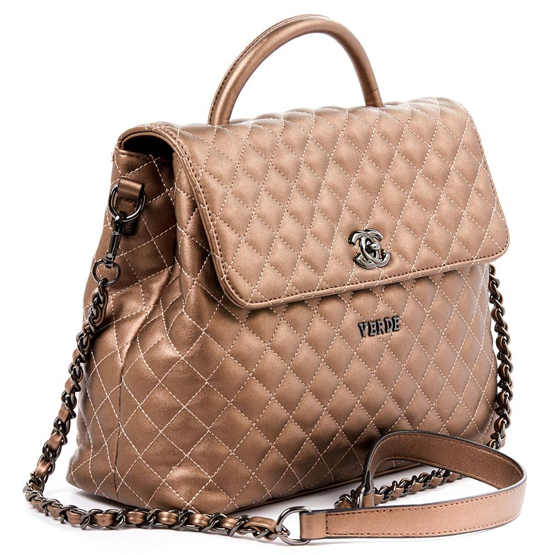 31c832c0c6c5 Τσάντα καπιτονέ Verde 16-4970-Bronze - Γυναικειες τσαντες