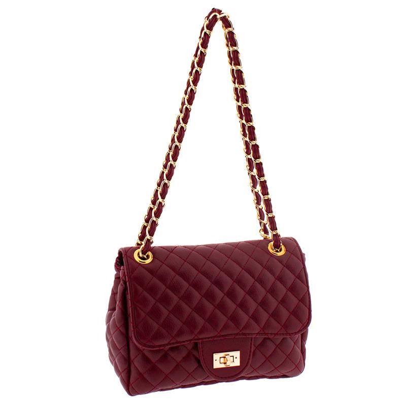 Τσάντα γυναικεία καπιτονέ MB826-Μπορντω - Γυναικειες τσαντες ... 6d036bf723c